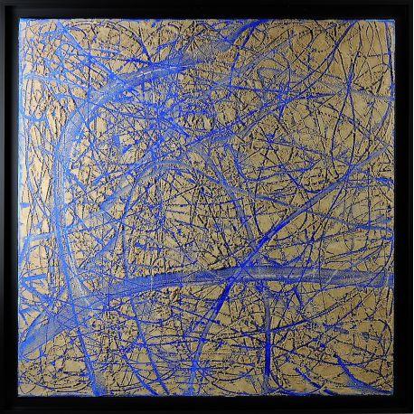 """""""MATERIOGRAPHY"""" n°17 Sable sur Bleu de Venise 75x75cm"""