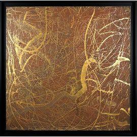 """""""MATERIOGRAPHY"""" n°40 Rouille sur Or-cuivre 75x75cm"""