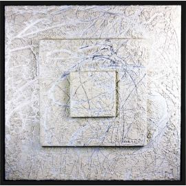 «MATERIOGRAPHY» n°104 White marble on Aluminium 39,4x39,4in.