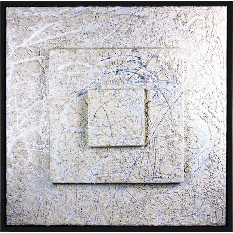 """MATERIOGRAPHY"" n°104 Marbre Blanc sur Aluminium 100x100cm"
