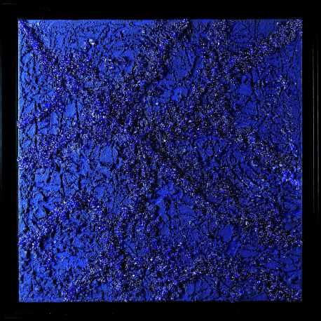 «MATERIOGRAPHY»n°235 Glass on Blue 19,7in.x19,7inches.
